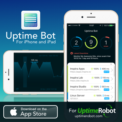 Uptime Bot, monitoring application for iPhone and iPad